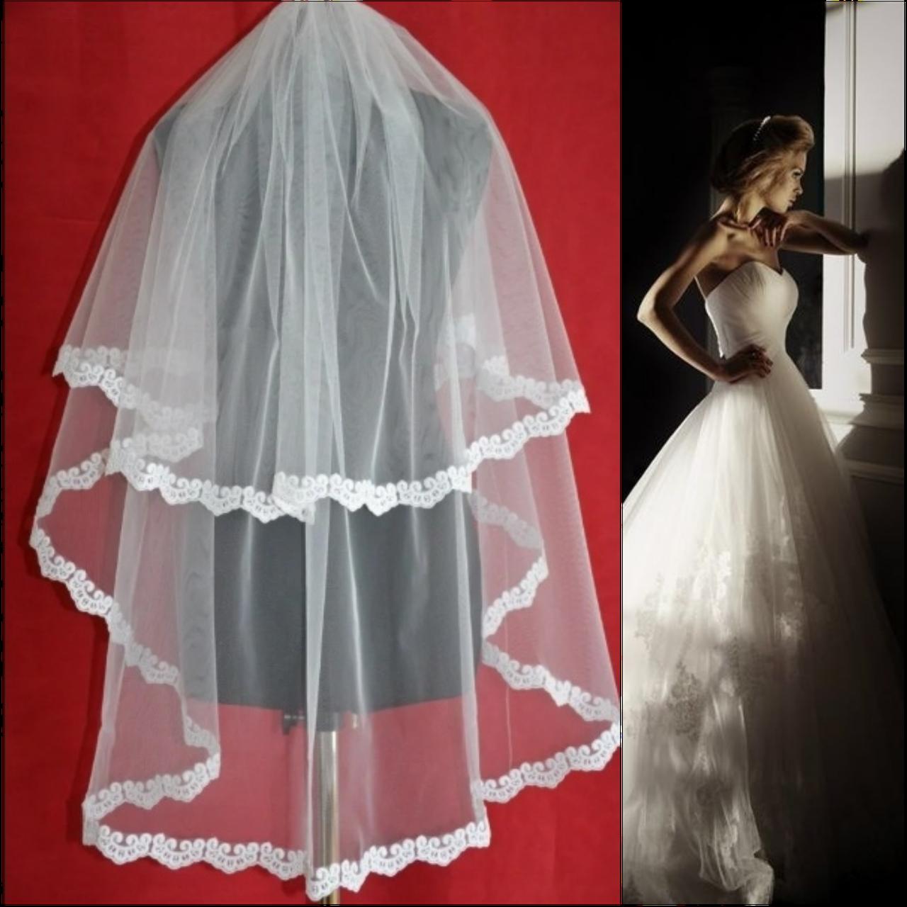 Вау! Двухъярусная средней длины свадебная Фата с кружевом SF для Невесты Белая/Айвори (sf-232)