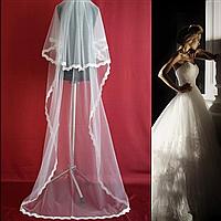 Вау! Двухъярусная длинная свадебная Фата с кружевом SF для Невесты Белая/Айвори (sf-222), фото 1