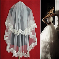 Вау! Двухъярусная средней длины ажурная свадебная Фата SF для Невесты Белая/Айвори (sf-223), фото 1
