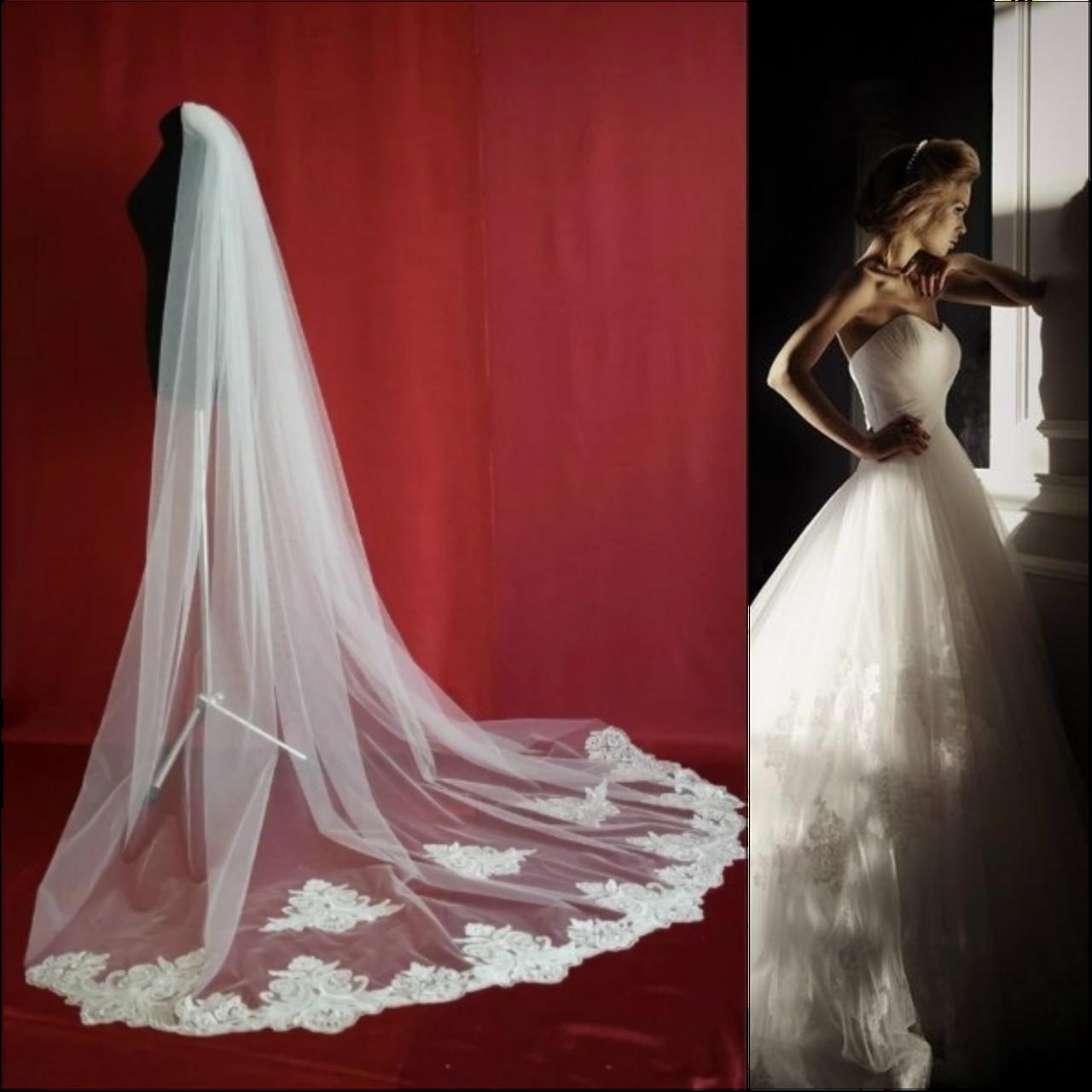 Вау! Длинная однослойная ажурная свадебная Фата SF для Невесты Белая/Айвори (sf-277)
