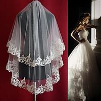 Вау! Двухъярусная свадебная Фата до кончиков пальцев кружевная SF для Невесты Белая/Айвори (sf-219), фото 1
