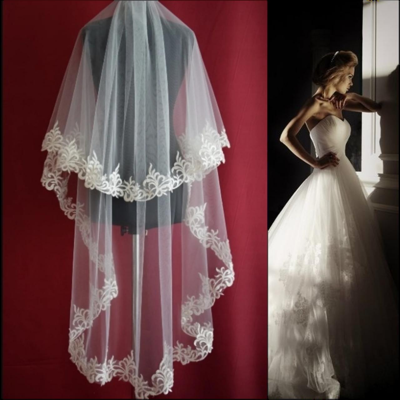 Вау! Удлиненная двухъярусная свадебная Фата с кружевом SF для Невесты Белая/Айвори (sf-220)