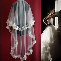 Вау! Удлиненная двухъярусная свадебная Фата с кружевом SF для Невесты Белая/Айвори (sf-220), фото 1