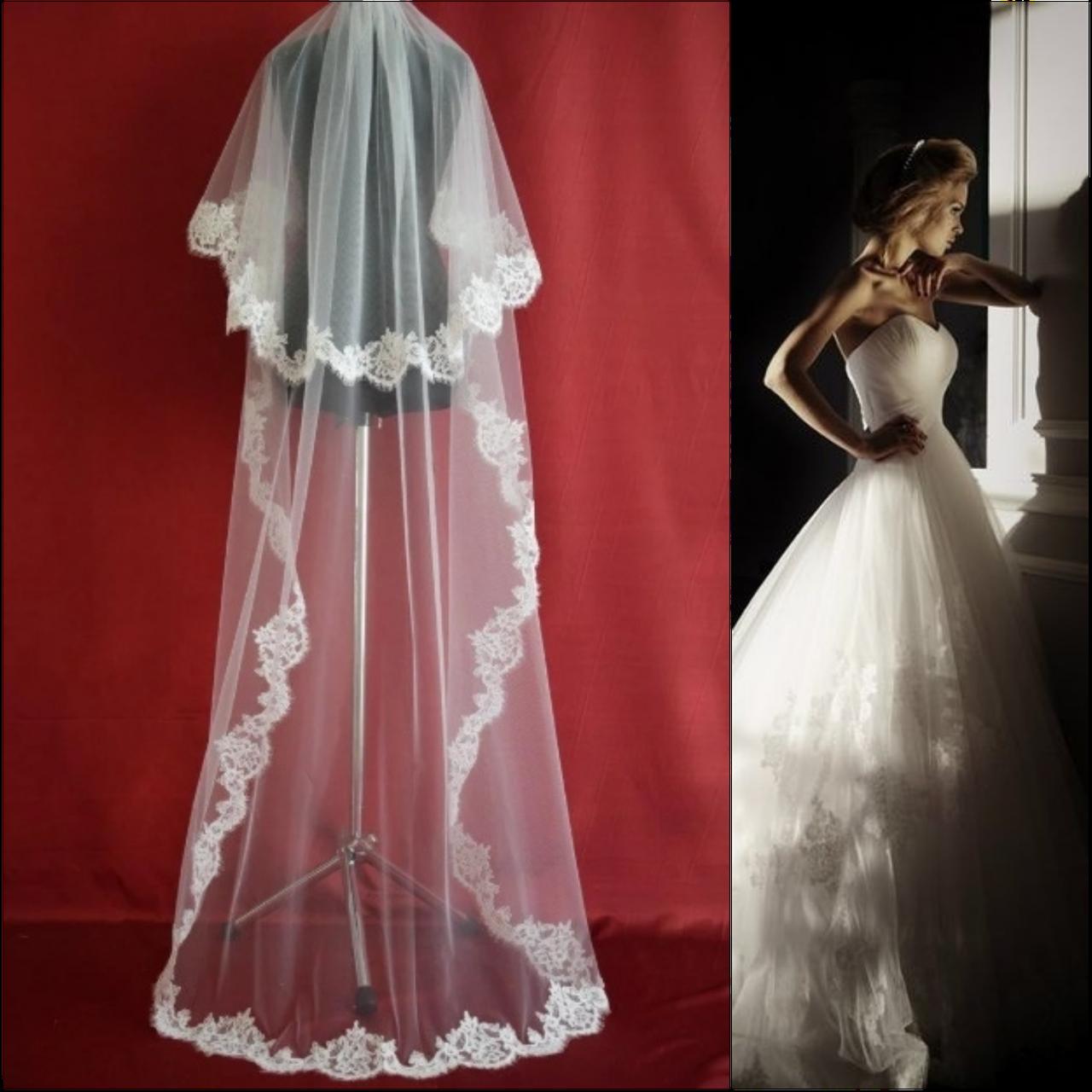 Вау! Длинная двухъярусная свадебная Фата с кружевом SF для Невесты Белая/Айвори (sf-282)
