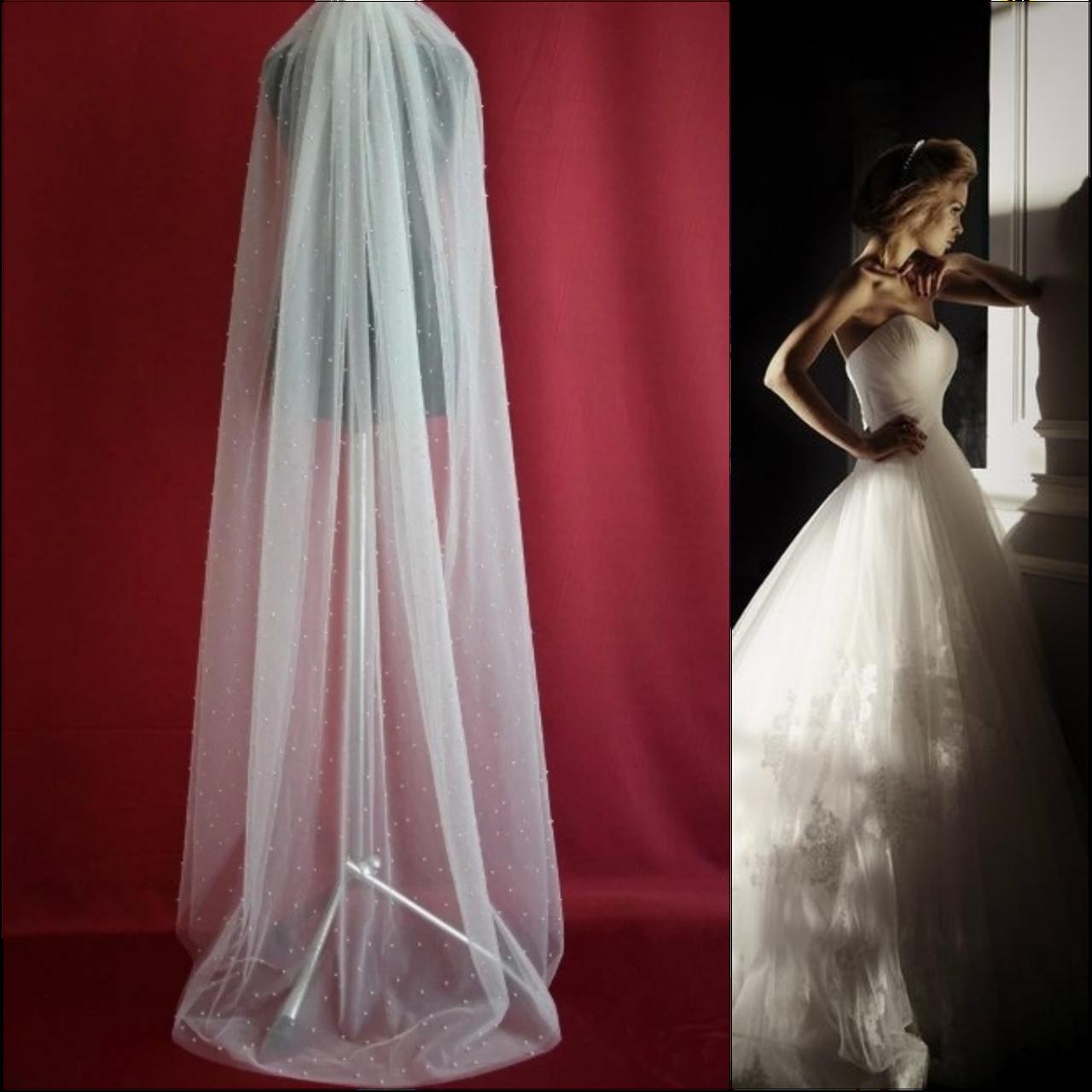 Вау! Роскошная длинная с жемчугом свадебная Фата SF для Невесты Белая/Айвори (sf-338)