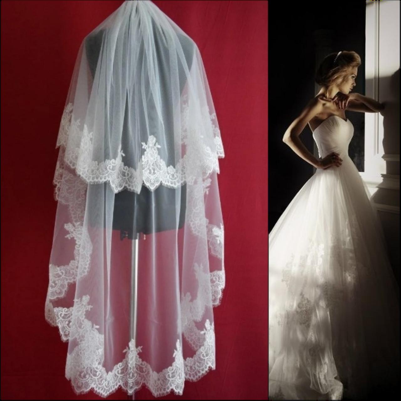 Вау! Двухъярусная удлиненная свадебная Фата ажурная SF для Невесты Белая/Айвори (sf-327)