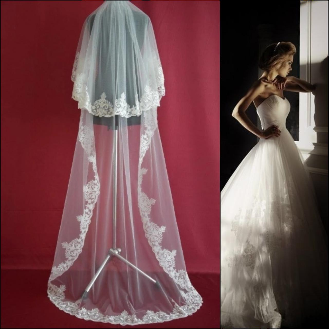 Вау! Ажурная двухъярусная длинная свадебная Фата SF для Невесты Белая/Айвори (sf-294)
