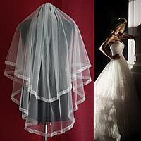 Вау! Двухъярусная свадебная Фата средней длины в пайетках с бисером SF для Невесты Белая/Айвори (sf-308), фото 1