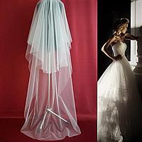 Вау! Двухъярусная пышная свадебная Фата SF для Невесты Белая/Айвори (sf-003)
