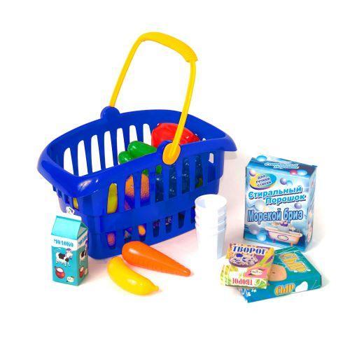 """Детская игрушечная корзинка """"Супермаркет"""", 33 предмета (синяя) 362 в.2"""