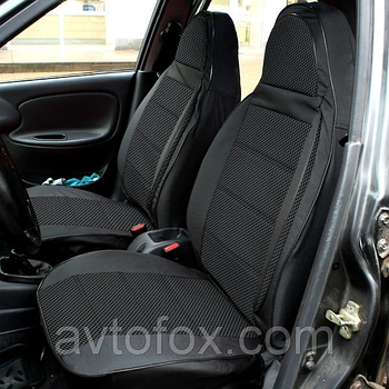 """Чехлы сидений ВАЗ 2101 комплект Кожзаменитель черная + ткань серая """"Пилот"""""""