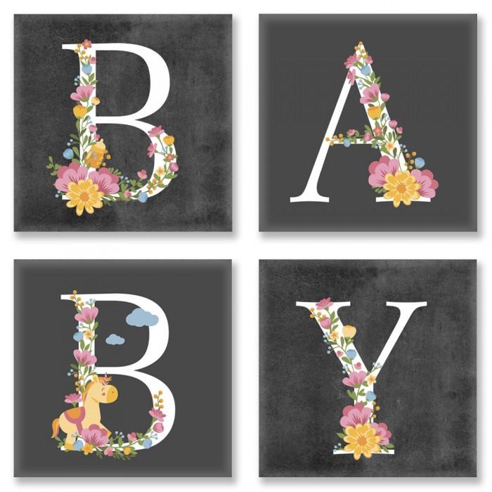 """Картина по номерам Идейка Полиптих """"BABY Лофт"""" (4шт) 18х18см CH109"""