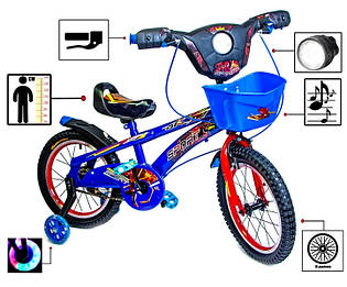 Детский 2-х колёсный велосипед Spiderman Blue 16 с музыкой и светом