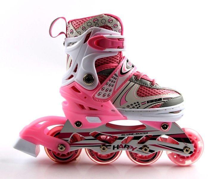 Роликовые коньки (ролики) раздвижные Happy Pink, размер 38-42