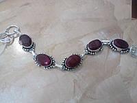 Браслет с рубином. Браслет с натуральным камнем рубин (Индия) в серебре.