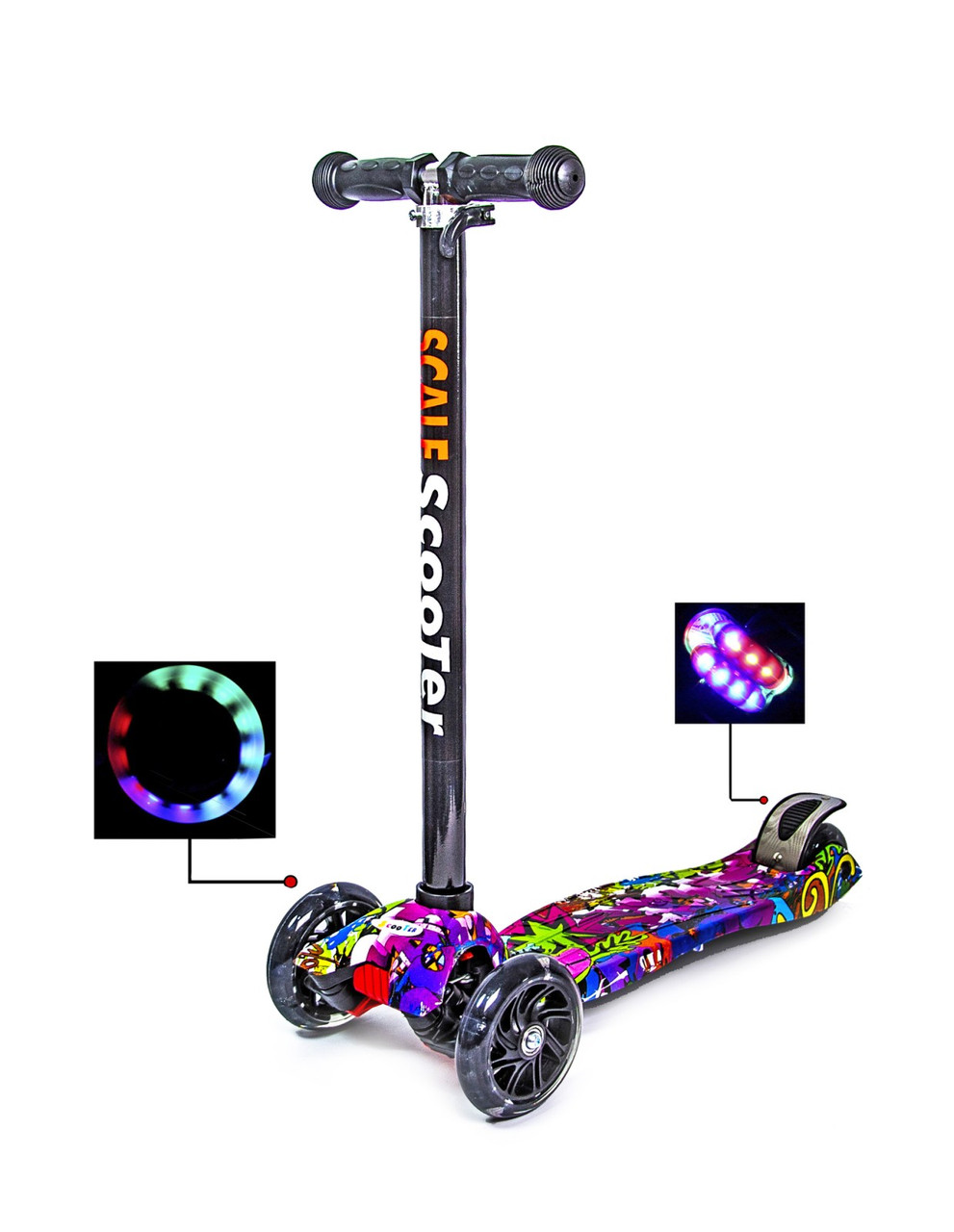 Самокат четырехколесный детский складной с подсветкой MAXI (Graffiti Hip-Hop)