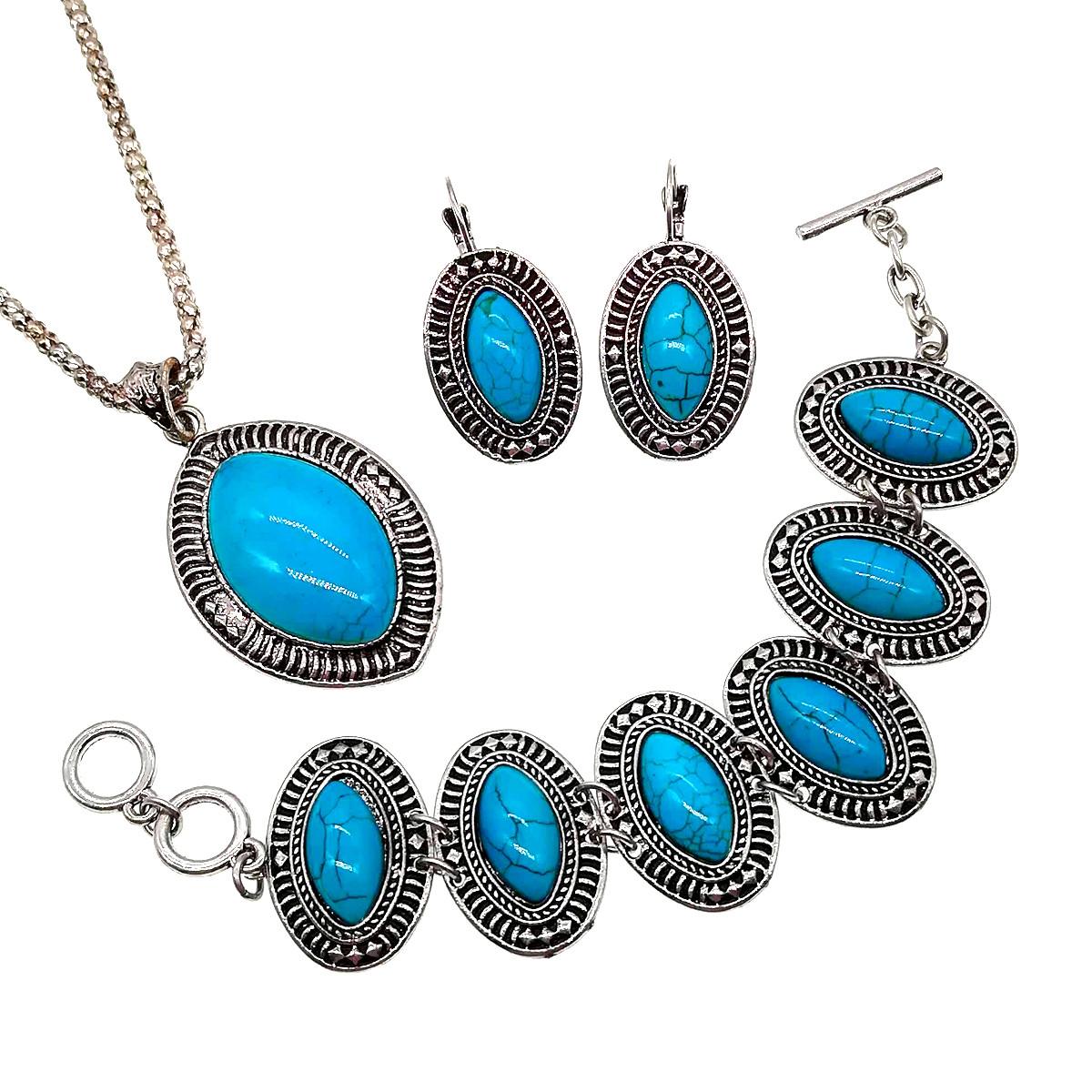Комплект SONATA (серьги, браслет, подвеска на цепочке), бирюза прессованна, 73448          (1)