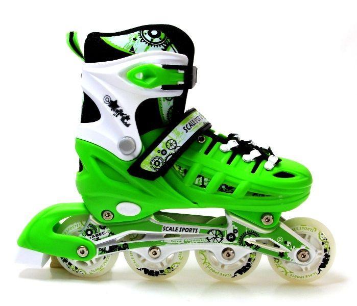 Раздвижные ролики 29-33 Scale Sports Green с подсветкой переднего колеса