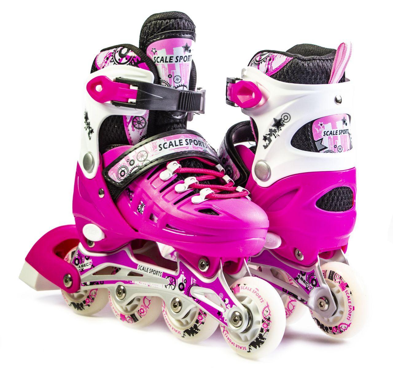 Раздвижные ролики 29-33 Scale Sports Pink с подсветкой переднего колеса