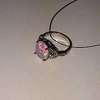 Красивое кольцо с огненным опалом в серебре. Кольцо огненный опал 16 размер в кредит 0%