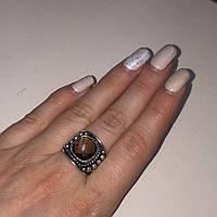 Кольцо с раух-топазом дымчатый кварц в серебре 17.5-18 размер. Кольцо с камнем раух-топаз Индия