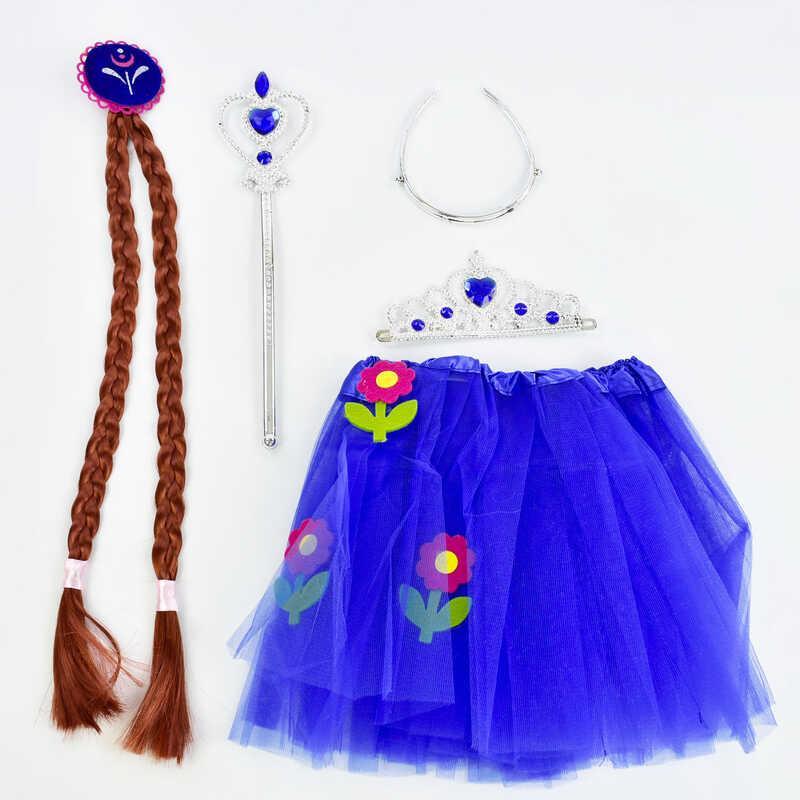 Карнавальный набор для девочки C 31261 (100) 4 предмета: юбка, коса, жезл, корона