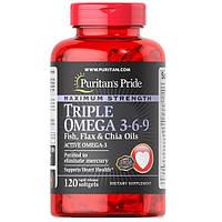 Maximum Strength Triple Omega 3-6-9 Fish Flax and Borage Oils (120 капсул)