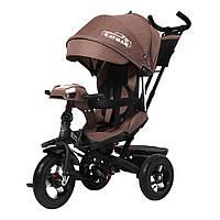 Детский трехколесный велосипед TILLY CAYMAN T-381/2 Коричневый лен с пультом и усиленной рамой
