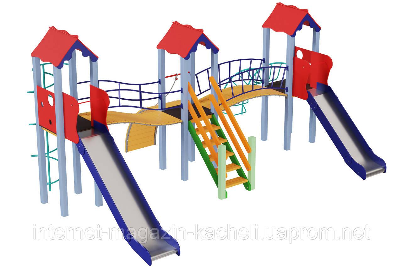 Детский комплекс Стена, высота горки 1,2 м и 1,5 м Kidigo (11294)