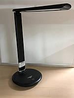 """Лампа настільна LED LEBRON L-TL-L, 9W, 3000K, 4100К, 6500К, чорна """"шкіра"""", з блоком жи-ня"""