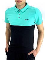 Футболка Polo Nike Реплика M Бирюзовый с черным (ФП-012-002), фото 1