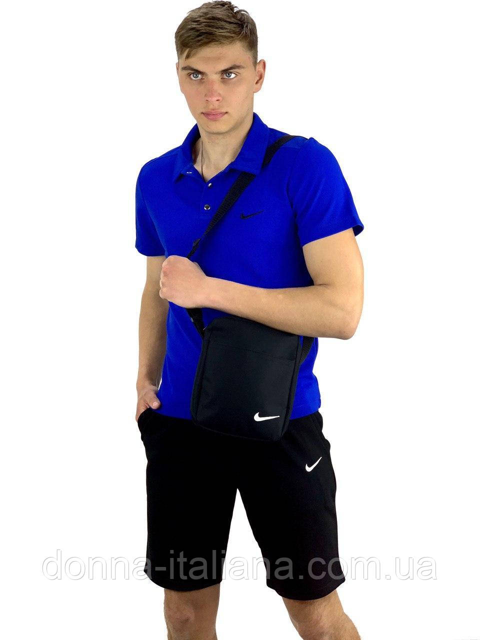 Комплект Футболка Polo+ Шорти+ Барсетка Nike Репліка L Електрик з чорним (KomNikeElectrician1/3)