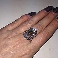 Кольцо овальное с раух-топазом дымчатый кварц в серебре 19 размер. Кольцо с камнем раух-топаз Индия