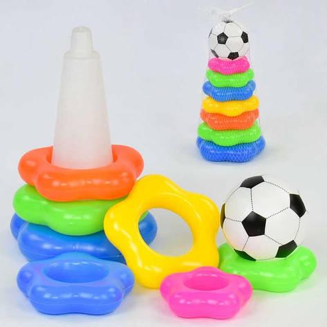Пирамидка Футбольный мяч 369-7 D (120) в сетке, фото 2