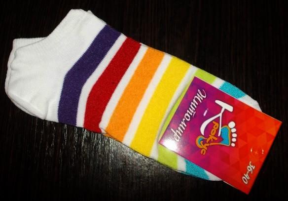 Носки женские короткие хлопок размер 36-40 радуга