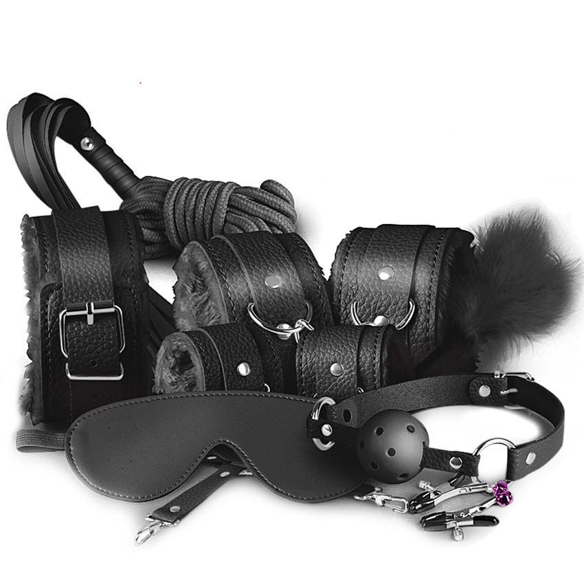 Черный кожаный БДСМ набор Госпожи для садо-мазо 10 предметов. Фетиш
