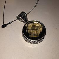 Раух-топаз кулон круглый с раух-топазом дымчатый кварц в серебре Индия