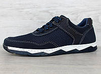 40 р. Кросівки чоловічі літні сітка синього кольору кроссовки