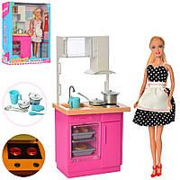 Кукла DEFA 8439-BF 30см, кухня,мебель31-14,5см,посуда,свет,2цв, бат-таб,в кор, 25,5-32-9,5см