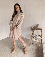 Платье-свитшот удлиненное с рукавами на манжетах светлая пудра