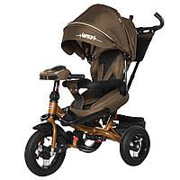 Детский трехколесный велосипед TILLY Impulse с пультом и усиленной рамой T-386 Коричневый