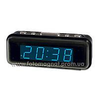 Часы сетевые VST 738-5 синие настольные (электронные цифровые часы)