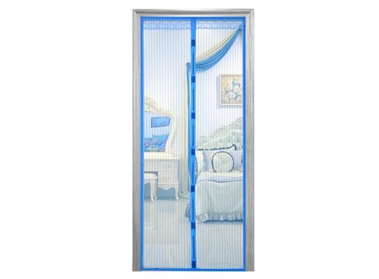 Дверная антимоскитная сетка Magnetic Mesh на магнитах синяя