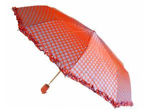 Зонт с рюшами Горошек антишторм красный