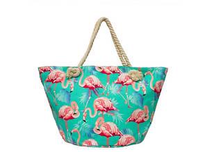 Пляжная сумка Бирюзовая с принтом Flamingo
