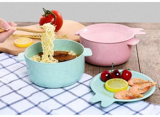 Каструля з кришкою-тарілочкою для запарювання каші, локшини або зберігання їжі