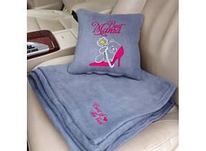 Набір подушка і плед з вишивкою Best Mama! Сірий