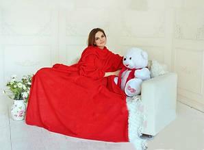 Плед з рукавами двошаровий фліс Premium Червоний