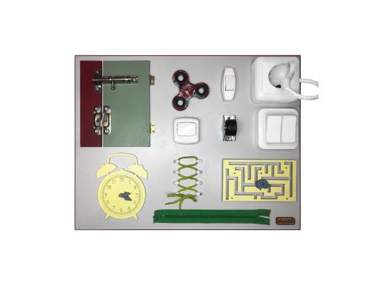 Бизиборд Годинник і двері Різнобарвний