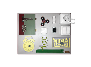 Бизиборд Часы и дверь Разноцветный